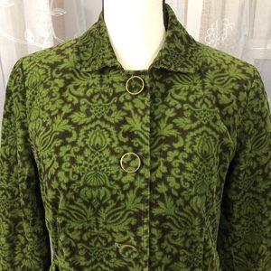 Talbots Green/brown 100% cotton jacket SZ 6 Petite